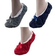 Ladies Slipper Socks With Fleece Lining & Bow (SK456)